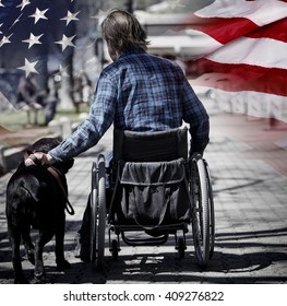 Man on wheelchair with guide dog concept USA veteran concept photograph patriotism and sacrifice