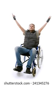 man on wheelchair isolated on white