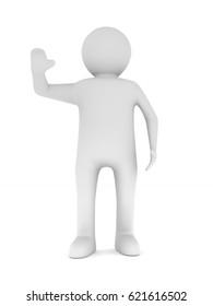 man on white background. Isolated 3D illustration