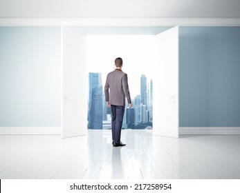 man in open doors, way to success