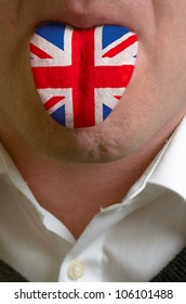 man with open mouth spreading tongue colored in great britain flag as symbol of values like teaching, learning, multilingual speaking different of languages