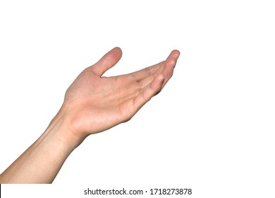 Man open the palm of the right hand isolated on white background.