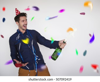 Man opening a bottle of good champagne