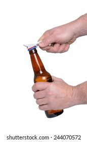 man opening bottle with opener isolated white background