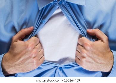 Man opening his blue shirt