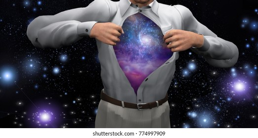 Man opens shirt to reveal the galaxies. 3D rendering