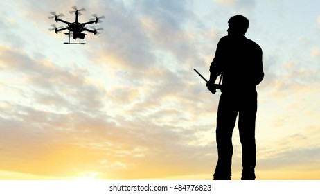 Man operating a flying drone quadrocopter UAV - using a controller -  3D rendering