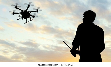Man operating a flying drone  UAV - using a controller -  3D rendering