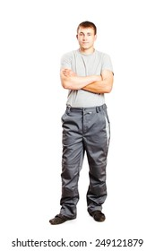 Man in overalls isolated on white background