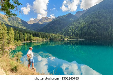 Man overlooking the lake Antholz