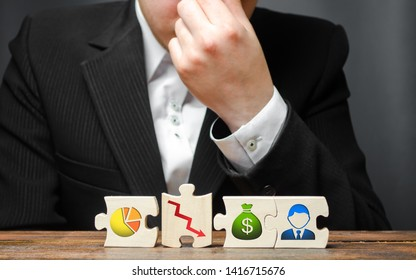 man from overstrain holds his hand on the nose or forehead on the background of the business process insolvency visualization. Wrong business model, unprofitability and inefficiency. Failed project