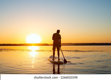 Man is paddling on a SUP board on a large river during sunrise. Stand up paddle boarding - awesome active recreation in nature. Back view, back light.