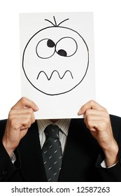 Man with the painted crazy smile on the sheet of paper over his face