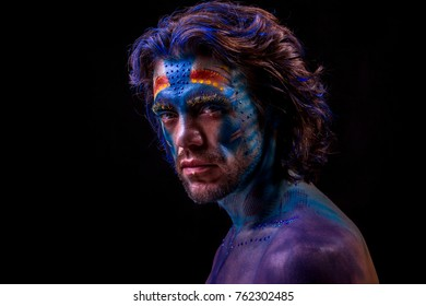 A man with painted face