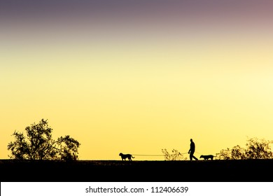 A man and a pair of dogs walking along a ridge.