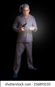 Man in pajamas with a gun. Armed man in pajamas lighting with hand-light forward. Sleeper with a pistol on a dark background. Man in pajamas watching with a gun at night. Night Watch.