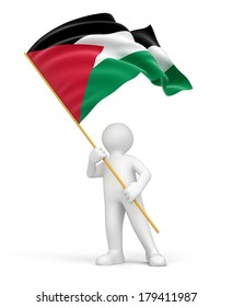 Man and Palestinian flag (clipping path included)