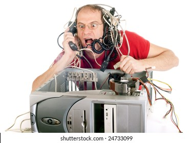 man in panic with his computer trying to reach technical support