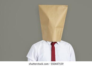 Man Paper Bag Cover Face Ashamed Portrait Concept