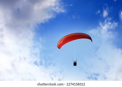 Man in paragliding