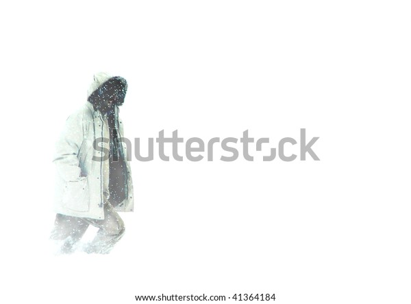 Man in Parka Walking in Arctic Blizzard Whiteout Snow Conditions