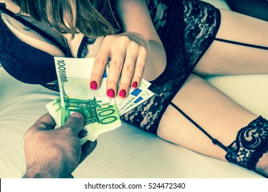 Man paying prostitute for sex - prostitution and escort concept - retro style