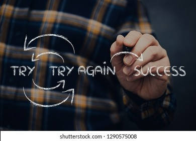 man with pen writing try and try again until success graph, with flannel shiirt and dark background