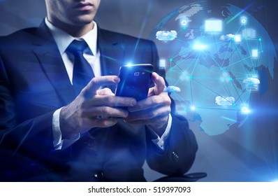Man with phone in cloud computing concept
