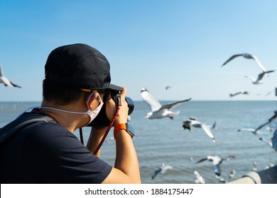 Man photographer  or cameraman to wear  Hygienic mask or face mask  to take a photo of seagull,Bird photography at Bangpoo, Samut Prakan,Thailand.