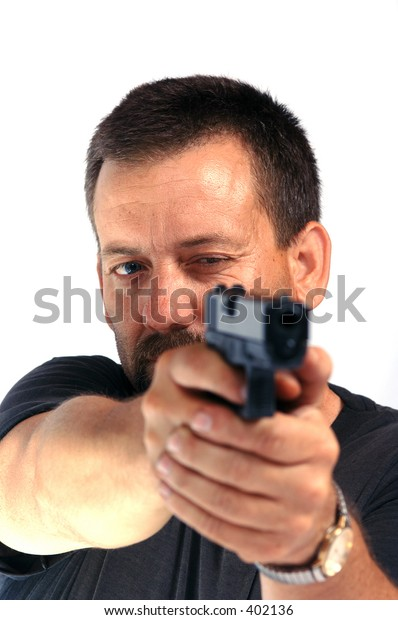 Man with pistol aimed to the right