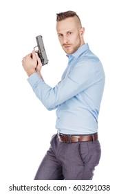 man with pistol. dangerous and criminal concept
