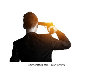man with pistol gun turned on his head wants to commit suicide