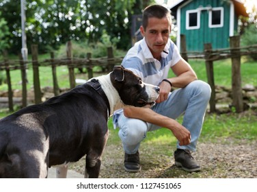 Man and pitbull dog in nature