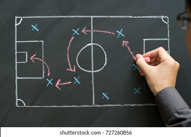 Man planning for a football strategy on blackboard