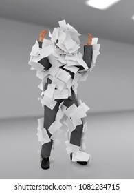 man plastered with paper sheets, 3d illustration