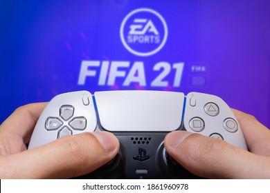 Man play FIFA 21 with Playstation 5 Dual Sense - 26 Nov, Sao Paulo, Brazil.