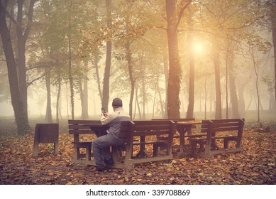 Man play in his mobile phone in the park an autumn day