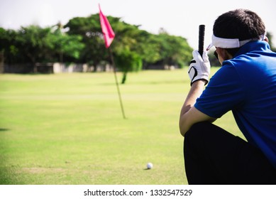 Man play outdoor golf sport activity - people in golf sport concept
