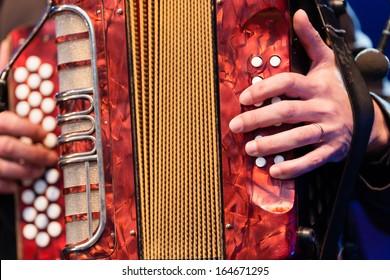 Man playing an accordion