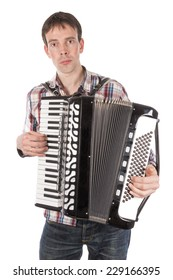 Man playing at an accordion isolated over white