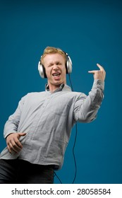 Man playing air guitar
