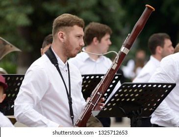Man playing bassoon. Festival of brass orchestras devoted today of Independence of Ukraine. August 22, 2018. Kiev, Ukraine