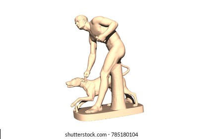 man playing with dog 3D rendering