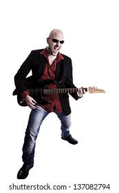 man playing electric guitar on white background
