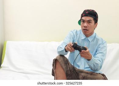 man playing games.