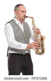Man playing in a gray waistcoat on a saxophone on a white background