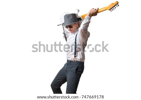 Man playing guitar behind