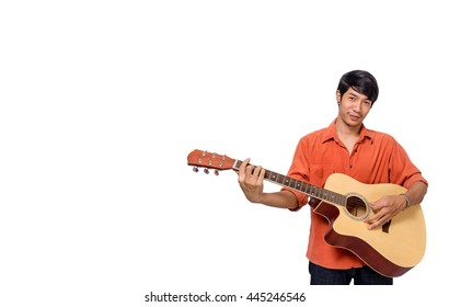 A man playing guitar isolated