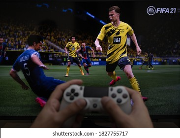 Man playing new FIFA 21 game by EA Sports, Sao Paulo, Brazil, 05/10/2020