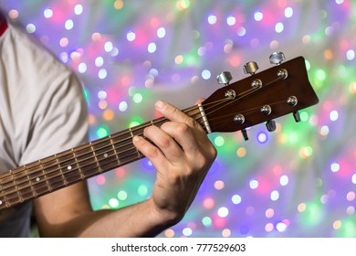 Man Playing On Acoustic Guitar Closeup Stock Photo (Edit Now